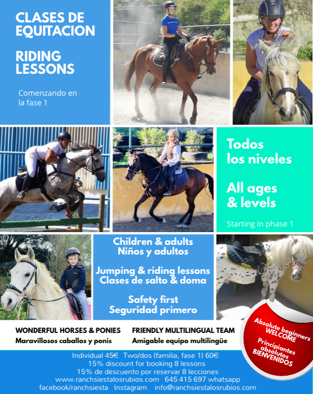 Poster for horse riding lessons in Estepona
